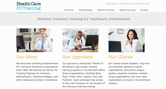 Visit healthcarepctraining.com | Design by David Delmar